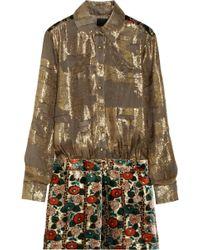 Anna Sui Metallic Chiffonjacquard and Burnout Velvet Dress - Lyst