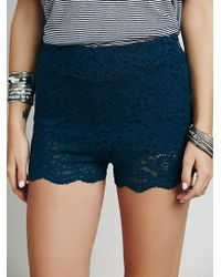 Free People Aubrey Lace Short blue - Lyst