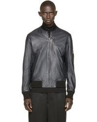 A. Sauvage - Navy Leather Bomber Jacket - Lyst