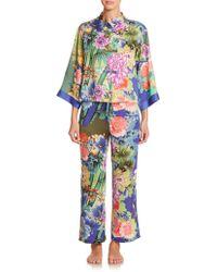 Natori Tahiti Mandarin-Collar Pajamas multicolor - Lyst