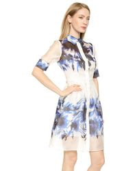 Milly Floral Mirage Shirtdress - Blue - Lyst