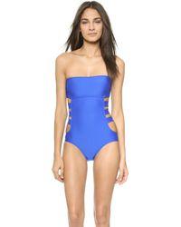 Ella Moss Solid One Piece Swimsuit - Blue - Lyst