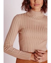 Missguided Long Sleeve Turtle Neck Knitted Crop Jumper Camel - Natural