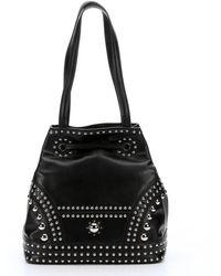 Prada Black Calfskin Studded Bucket Bag - Lyst