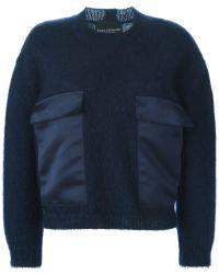 Erika Cavallini Semi Couture - Contrasting Satin Pockets Sweater - Lyst