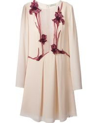 Nina Ricci Embossed and Embroidered Floral Dress - Lyst