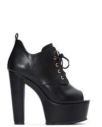 Nasty Gal Shoe Cult Turn Up Platform  Black - Lyst