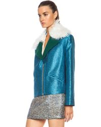 Rodarte Exclusive Glitter Cropped Viscose-blend Jacket - Lyst