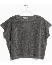 Mango Metal-Thread Linen-Blend Sweater gray - Lyst