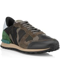 Valentino Camouflage Studded Trainer - Lyst