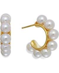 Majorica 18k Gold Vermeil Over Sterling Silver Organic Man-made Pearl Hoop Earrings - Lyst