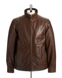 Vince Camuto Leather Moto Jacket - Lyst