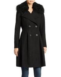 Badgley Mischka Lamb Collared Dress Coat - Lyst