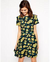 Oasis Large Petal Lace Skater Dress - Lyst