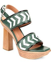 Marni Leather Chevron Wooden-Heel Sandals - For Women - Lyst