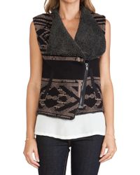 Twelfth Street by Cynthia Vincent Faux Shearling Lined Sweater Vest - Lyst
