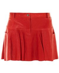 Thakoon Addition Leather Tulip Skirt - Red