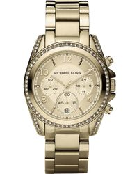 Michael Kors Blair Pavé Crystal & Goldtone Stainless Steel Chronograph Bracelet Watch - Lyst