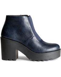H&M Blue Platform Boots - Lyst
