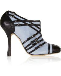 Oscar de la Renta Bella Suede And Leather Ankle Boots - Lyst