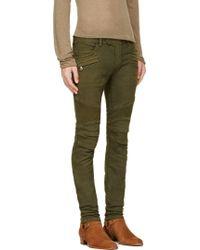 Balmain Khaki Green Cotton Stretch Biker Jeans - Lyst