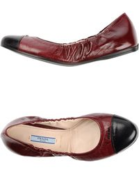 Prada Ballet Flats red - Lyst