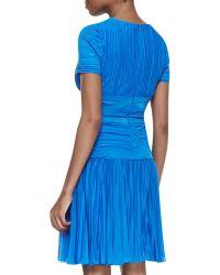 Halston Heritage Shortsleeve Pleated Aline Dress Aquamarine - Lyst