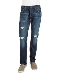 7 For All Mankind Distressed Straight Leg Jeans - Lyst