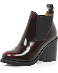 River Island Red Block Heel Chelsea Boots - Lyst