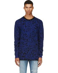 McQ by Alexander McQueen Blue and Black Mohair Leopard Sweater - Lyst