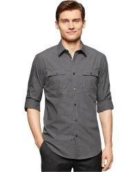 Calvin Klein Textured Slub Slim-Fit Shirt gray - Lyst