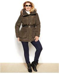 Michael Kors Michael Plus Size Hooded Faux-fur-trim Down Puffer Coat - Lyst