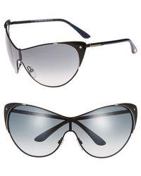 Tom Ford Women'S 'Vanda' Cat Eye Shield Sunglasses - Black/ Gold/ Gradient Grey - Lyst