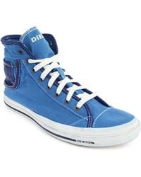 Diesel Magnet Exposure 2 Blue Canvas High Rise Sneakers blue - Lyst