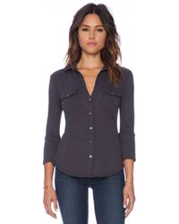 James Perse Contrast Panel Shirt - Lyst