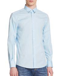 Versace Button-Down Collar Sportshirt blue - Lyst