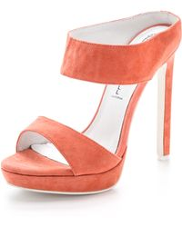 Jeffrey Campbell Etta Two Band Suede Mules - Coral - Lyst