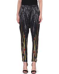 Givenchy Sequinnedprint Silk Harem Trousers Black - Lyst