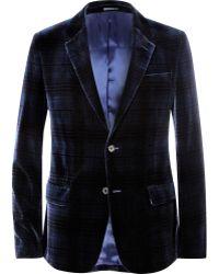 Alexander McQueen Navy Check Velvet Blazer - Lyst