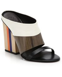 Tory Burch Mika Colorblock Leather Mule Sandals brown - Lyst