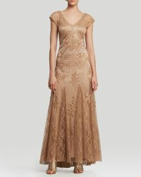 Sue Wong Gown  Cap Sleeve Double Vneck Beaded Godet - Lyst