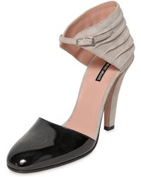 Giorgio Armani 105mm Patent Leather  Suede Pumps - Lyst