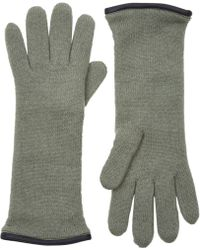 Barneys New York Green Double-Knit Gloves - Lyst