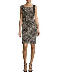 Lafayette 148 New York Vania Leather-Panel Dress - Lyst