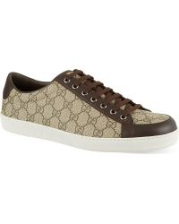 Gucci Brooklyn Gg Low Top Trainers Brown - Lyst