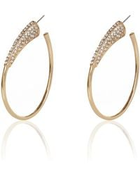 River Island Gold Tone Pave Oval Hoop Earrings - Lyst