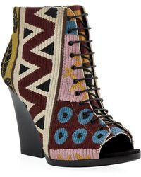 Burberry Virginia Tapestry Peeptoe Ankle Boots - Lyst
