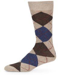 Saks Fifth Avenue Black Label - Cashmere-blend Argyle Socks - Lyst
