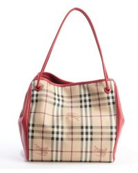 Burberry Pink Azalea Leather Small Haymarket Check Tote Bag - Lyst