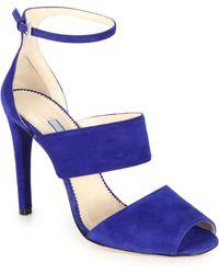 Prada Suede Ankle-Strap Sandals - Lyst